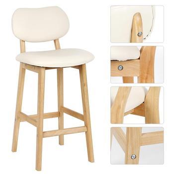 2 unids/set blanco cremoso haya de piernas de madera Simple Espalda alta Silla de Bar minimalista moderno silla base alta Taburetes de Bar silla de cocina HWC