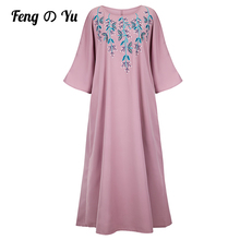 Middle East Fashion Arabian Plus Size Female Robe High-end Pink Embroidered Dress Muslim Prayer Ethnic Dress