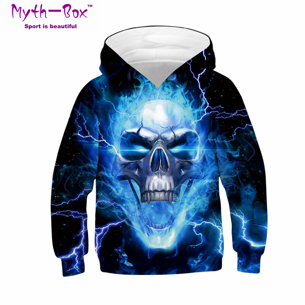 Autumn Winter Children's Hoodies Skull 3D Print Kids Sweatshirts Junior Child Tops Teens Pullover 5-14y Boy&Girl Hooded Sweaters