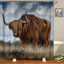 Wild animal pattern shower curtain bathroom supplies waterproof fabric shower curtain with hook for home decoration tree pattern shower curtain 1pc with hook 12pcs