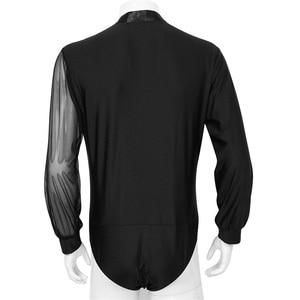 Image 4 - גברים מבוגרים לטיני ריקוד חולצה צמרות V צוואר צד מבריק Rhinestones ארוך שרוול סלוניים טנגו רומבה ריקוד חולצה בגד גוף בגד גוף