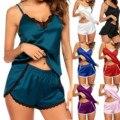 Ночная рубашка 30 #, женская сексуальная пижама, атласная шелковая шнуровка, комбинация, комплект нижнего белья, Женский пижамный комплект на...