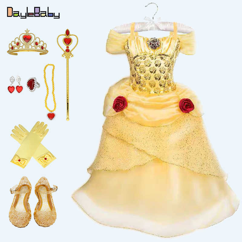 Prinses Belle Kostuum Jurk Gown Beauty Beast-Fall Geel Baljurk Classic Movie Kostuum Party Deluxe Kostuum Jurk- up Set