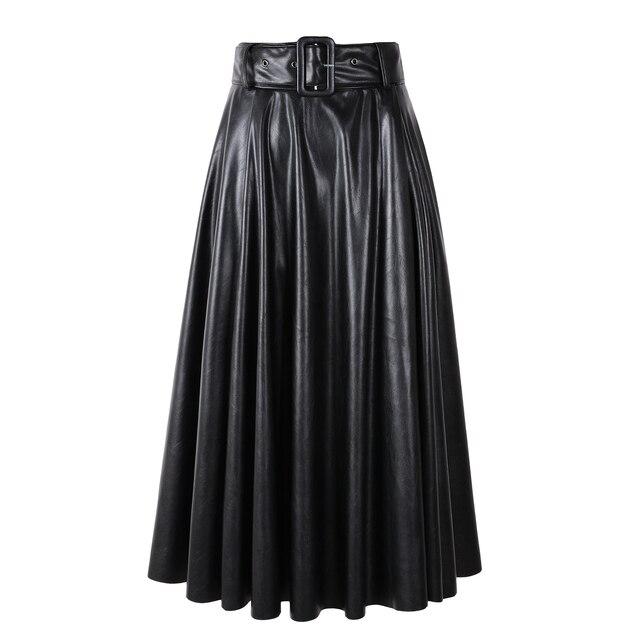 2019 New Fashion Women Autumn Winter PU Faux Leather Skirts Lady High Waist A-line Midi Mid-calf Maxi Long Black Skirt With Belt 3