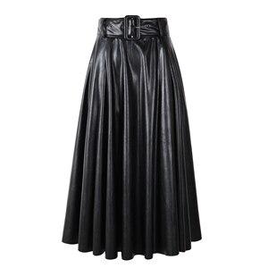 Image 3 - Новинка 2020, модные женские юбки из искусственной кожи на осень и зиму, женские юбки с высокой талией, трапециевидные миди до середины икры, длинные черные, винно красные, с поясом