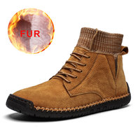 2019 Men Snow Boots Winter Plush Waterproof Men Boots Warm Leather Lace Up Non slip Ankle Male Boots Comfortable Work Shoes New