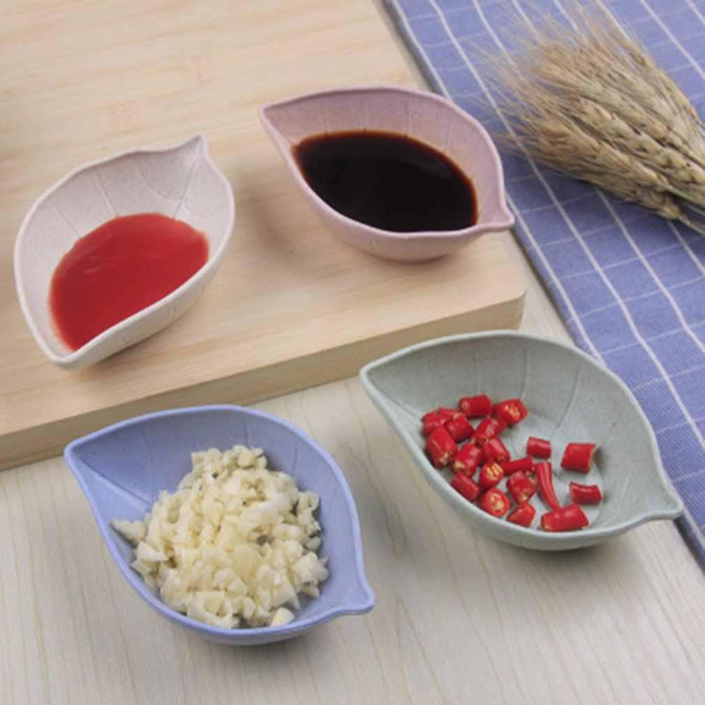 Mini assaisonnement Sauce plats polyvalent écologique paille de blé feuille forme trempage plat soucoupe pour vinaigre/salade