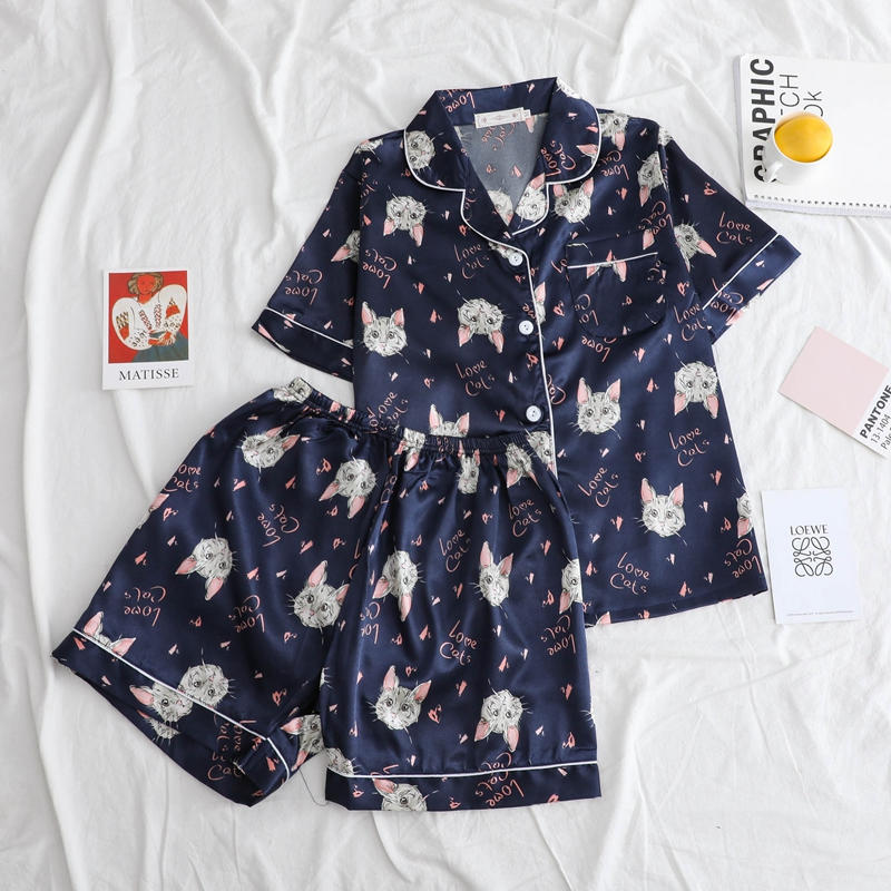 Leisure Cotton Pajamas For Women Kawaii Cats Print Fashion Ladies Silk Harajuku Bangtan Boys Korean Kpop Sleepwear Nightwear