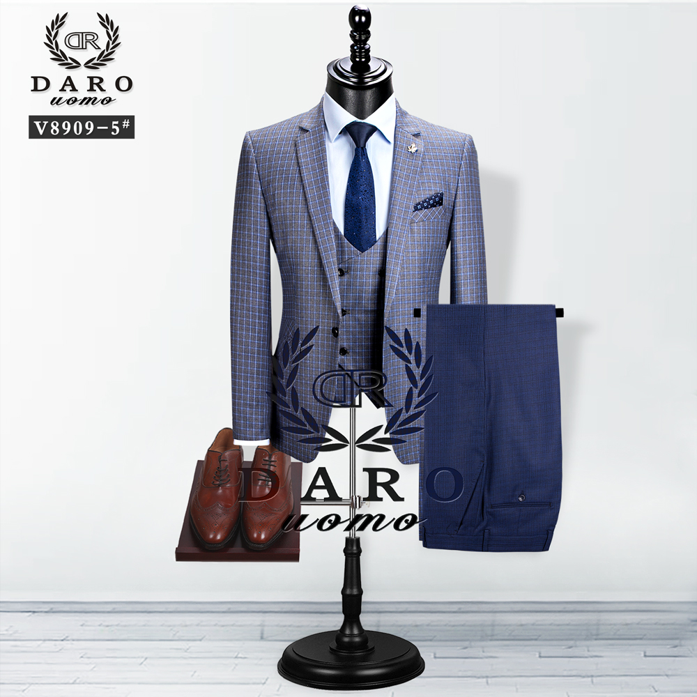 2020 DAROuomo  Men Suit New Style Blazer Vest 3Piece  Grey Slim Fit Fashion Suit  Business Casual Tailor-Made 2