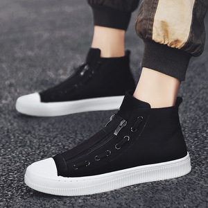 Image 1 - 2019 New High Top White Gray Black Men Canvas Shoes Men Casual Designer Fashion Luxury Flat Slip On Chaussure Homme Shoes