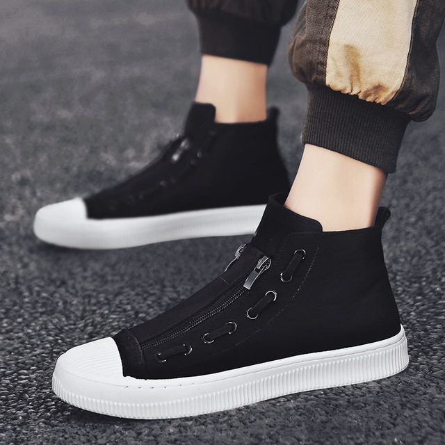 2019 New High Top White Gray Black Men Canvas Shoes Men Casual Designer Fashion Luxury Flat Slip On Chaussure Homme Shoes