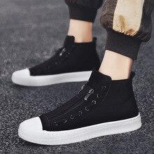 2019 새로운 하이 탑 화이트 그레이 블랙 남성 캔버스 신발 남성 캐주얼 디자이너 패션 럭셔리 플랫 슬립 chaussure 옴므 신발