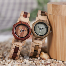 BOBO BIRD reloj de madera de cuarzo para mujer, exquisito reloj de diseño creativo octagonal, caja de regalo, 2020