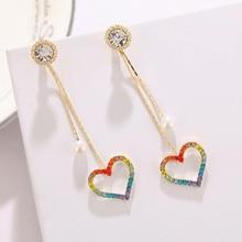 2020 Women Seven-color Flash  Earrings Drop Earrings pearl love stars Long Sweet Earrings Statement Bohemian Jewelry