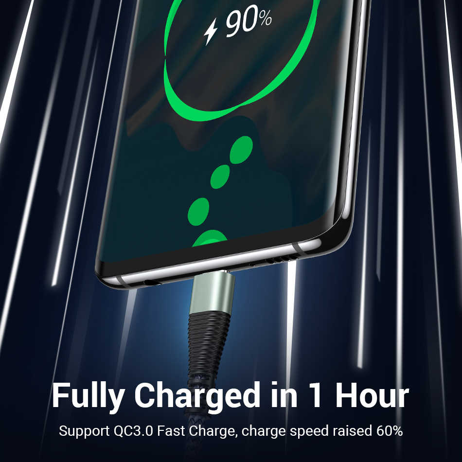 Fivi USB Tipe C Kabel untuk USB untuk Samsung S10 S9 S8 Huawei Xiaomi USB-C 3A Biaya Cepat USB kabel Pengisian Kabel untuk Huawei