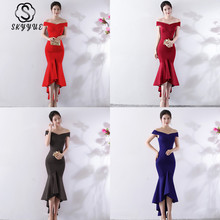Skyyue Evening Dress Sleeveless Robe De Soiree Off The Shoulder Women Party Dresses 2019 Boat Neck Formal Gowns C144-DS1