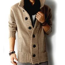 Men Autumn Stand Collar Buttons up Pockets Knitted Sweater Thickened Warm Coat Men's Clothing