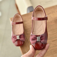 Kids School Shoes For Girls Children Fashion Princess PU Bowknot Dance Toddler Quality Leather Shoes Rhinestone Party Shoes