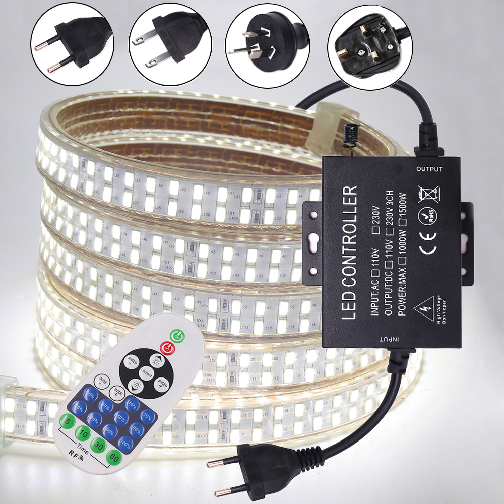 Super Bright 5730 Flexible LED Strip Light 240led/m Dimmable LED Rope Lights With RF Remote Control 1500W Controller Waterproof