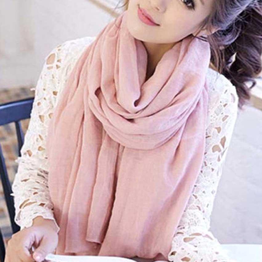 2019 Women Autumn Winter Scarf Pashmina Cape Luxury Warm Solid Linen And Cotton Fashion Female Multi-purpose Shawl