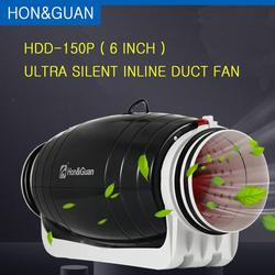 Hon&Guan HDD-150P Exhaust Fan Ultra Silent Mixed-flow Inline Duct for Residential Commercial Bathroom Ventilation; 6'' 110V/220V