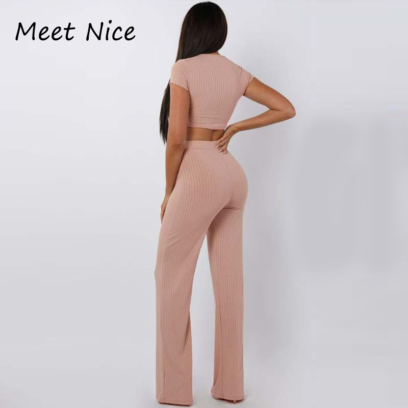 2 Two Piece Set Women Ribbed O Neck Crop Top and Long Pants Set Sexy Autumn Short Sleeve Tracksuit Women Conjunto Feminino 19 10