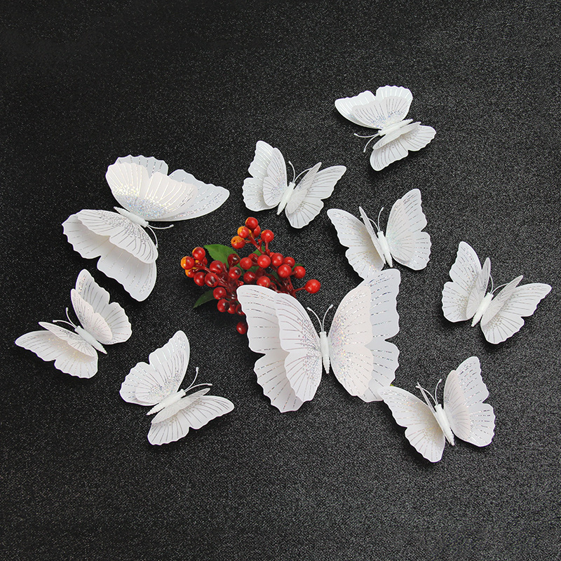 12pcs/lot 3D Double Layer Bling Butterfly Wall Sticker For Home Decoration Home Decor Butterflies For Party Fridge Wedding Party