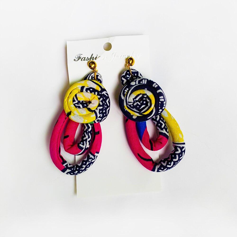 African Earrings fashion dashiki ankara print Handmade Circle earring cotton material Jewellery african traditional Accessories belt