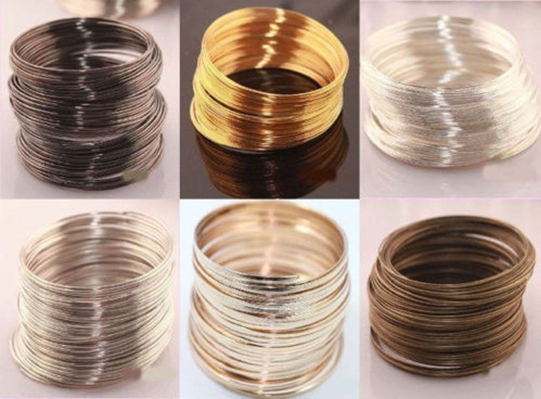 Indian Jewelry55/60mm 100 pcs Silver/Gold Color Memory Stainless Steel Bracelet Wire Cuff Bangles For Women Men