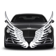 1 Pair Metal 3D Gold Silver Fashion Angel Hawk Wing Car Stickers Emblem Badge Decals For BMW Audi Ford Car Styling Accessories
