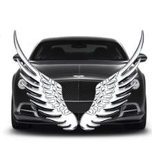 1 çift Metal 3D altın gümüş moda melek şahin kanat araba çıkartmaları amblem rozeti çıkartmaları BMW Audi için Ford araba şekillendirici aksesuarları