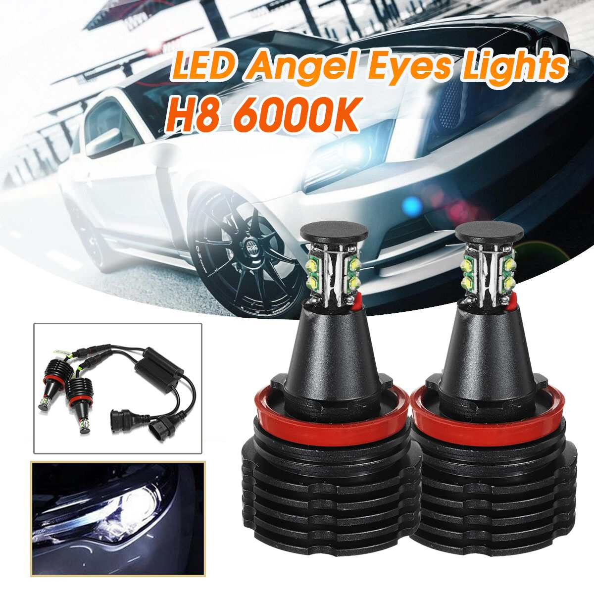 2X 80W H8 LED Angel Eyes Headlights Halo Bright Fog Light Bulbs White For BMW E90 E92 E82 E60 E70 E71 X5 X6 E89