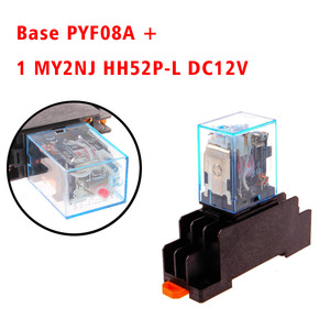 Electromagnetic Coil General DPDT Power Relay MY2NJ DPDT 8Pins HH52P DC12V 24V AC220V Miniature Relay & PYF08A Base(China)
