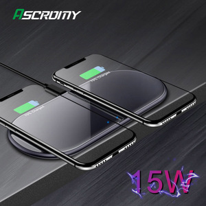 Image 1 - Dual 15W Fast Qi Wireless Charger Pad For Samsung Note10 iPhone 11 Pro Max HUAWEI Mate 30 20 Pro Induction Charging Dock Station