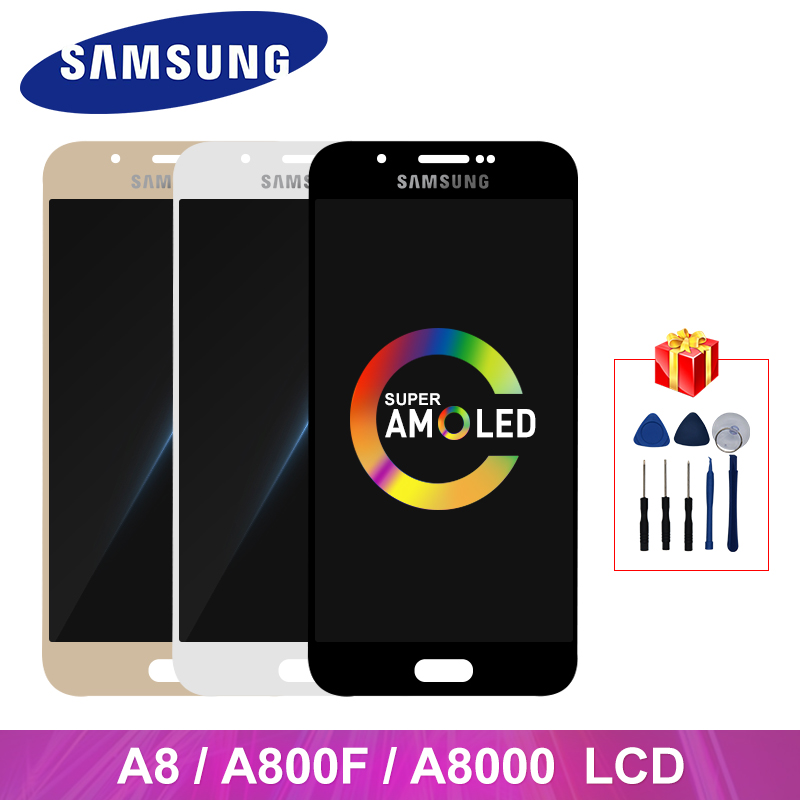 A8 2015 Super AMOLED For <font><b>Samsung</b></font> Galaxy A8 A800 LCD Display Touch Screen Digitizer Replacement Parts For <font><b>A8000</b></font> A8000F Display image
