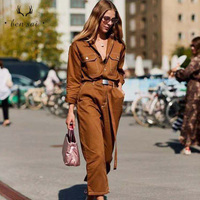 Women Denim Sexy Jumpsuit Romper Long Sleeve Belt Black White Khaki Women Jeans Jumpsuit Women Streetwear Overalls New