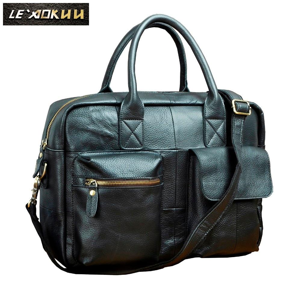 Quality Leather Men Fashion Handbag Business Briefcase Commercia Document Laptop Bag Black Male Attache Portfolio Tote Bag B331b