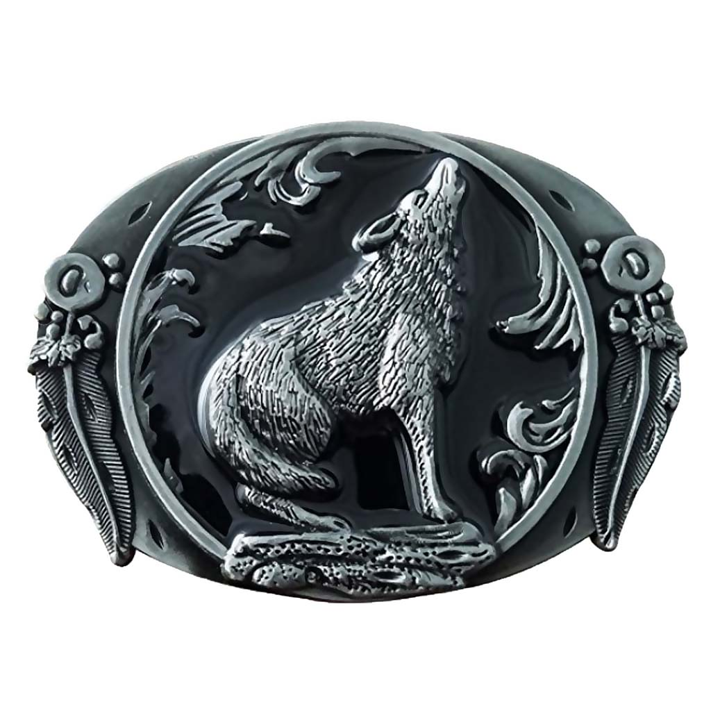 Vintage Belt Buckle Suitable For 3.6-3.9cm Belt Wolf Howl Totem Cowboy Western Belt Buckle Men's Gift