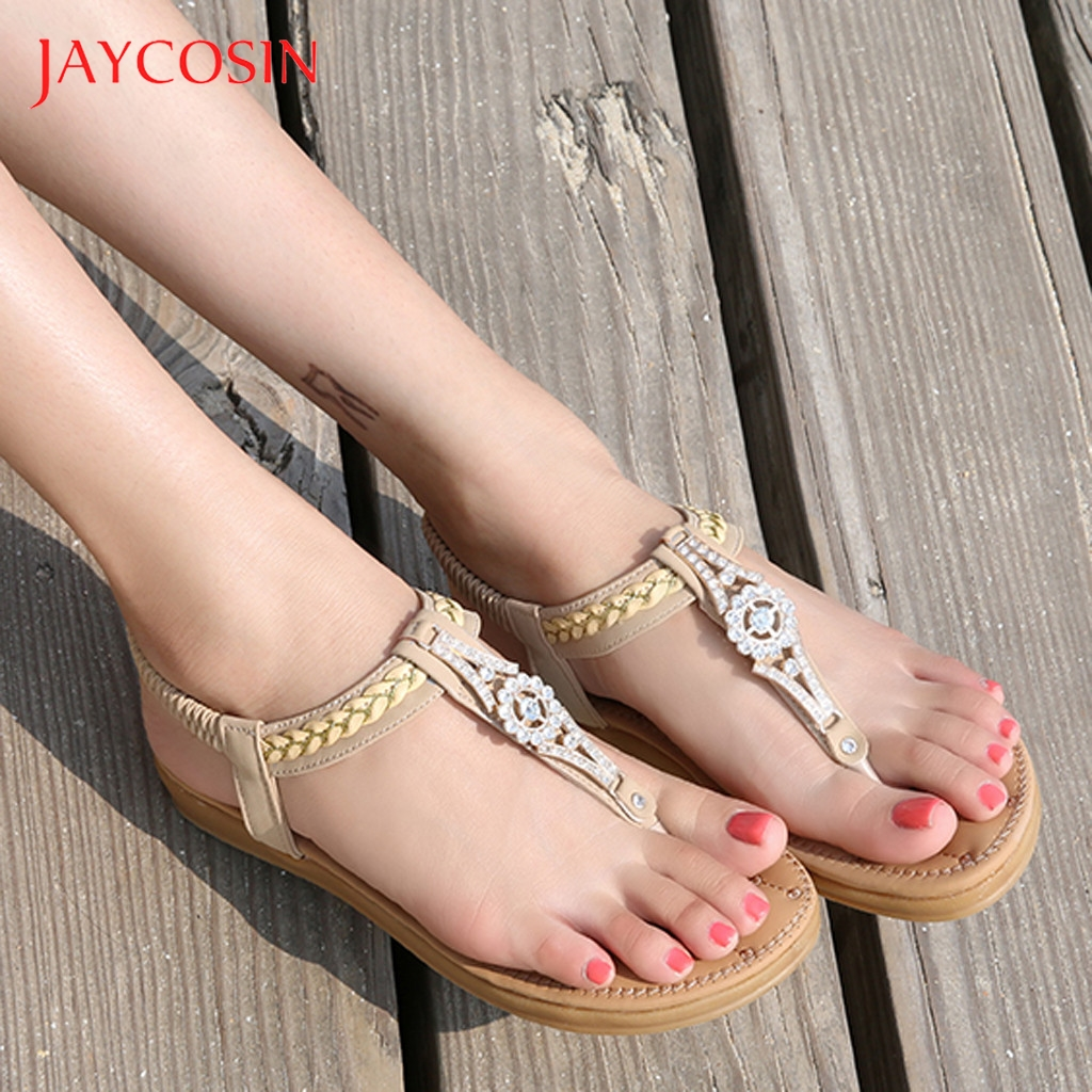 Jaycosin Sandals Female Women Crystal Casual Flat Elastic Band Summer Bohemian Beach Shoes Woman zapatos mujer Plus Size 41 1