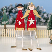 New Christmas Ornaments 2019 Wooden Decorative Ornaments Prince Girl Christmas Decoration For Home Navidad Table Pendulum Gift(China)