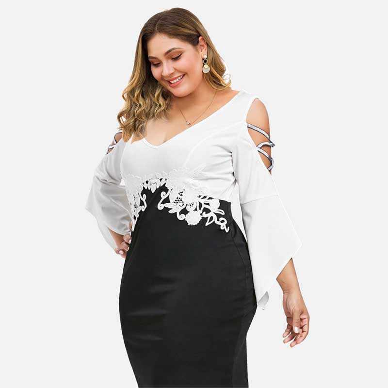 Wisalo/плюс размер 5XL облегающее платье с расклешенными рукавами и перекрещивающимся крестиком, с v-образным вырезом, длиной до колен, облегающее платье, кружевная Апликация Vestido