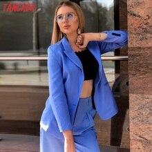 Tangada 2019 women formal blue blazer long sleeve ladies coat female pockets buttons blazer work office business suit SL273