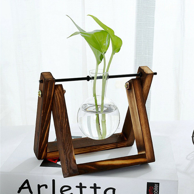 Hydroponic Glass Planter Bulb Vase with Wooden Stand Tray Tabletop Desk Decor Water Planting Propagation Home Decoration BJStore 3