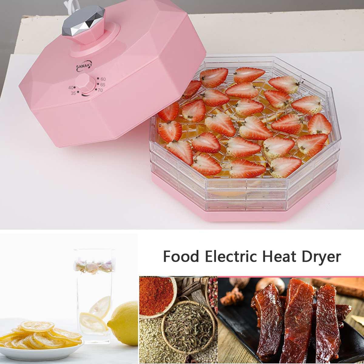5 plateaux 220V 250W fruits secs légumes herbe viande Machine ménage MINI alimentaire déshydrateur Pet viande déshydratée 8 engins