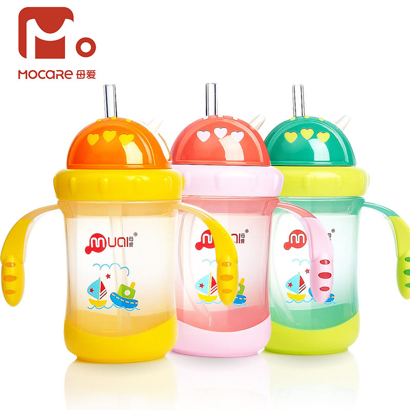 Baby Dual Handle Training Cup Infants With Handle Silica Gel Cup With Straw 200ml Children Gift Drinking Cup
