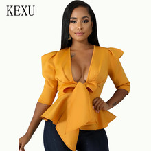 KEXU Autumn Elegant Office Shirt Women Yellow Black Short Sleeve Sexy Crop Top V Neck Bow Tops Female Fashion Ruffled Hem
