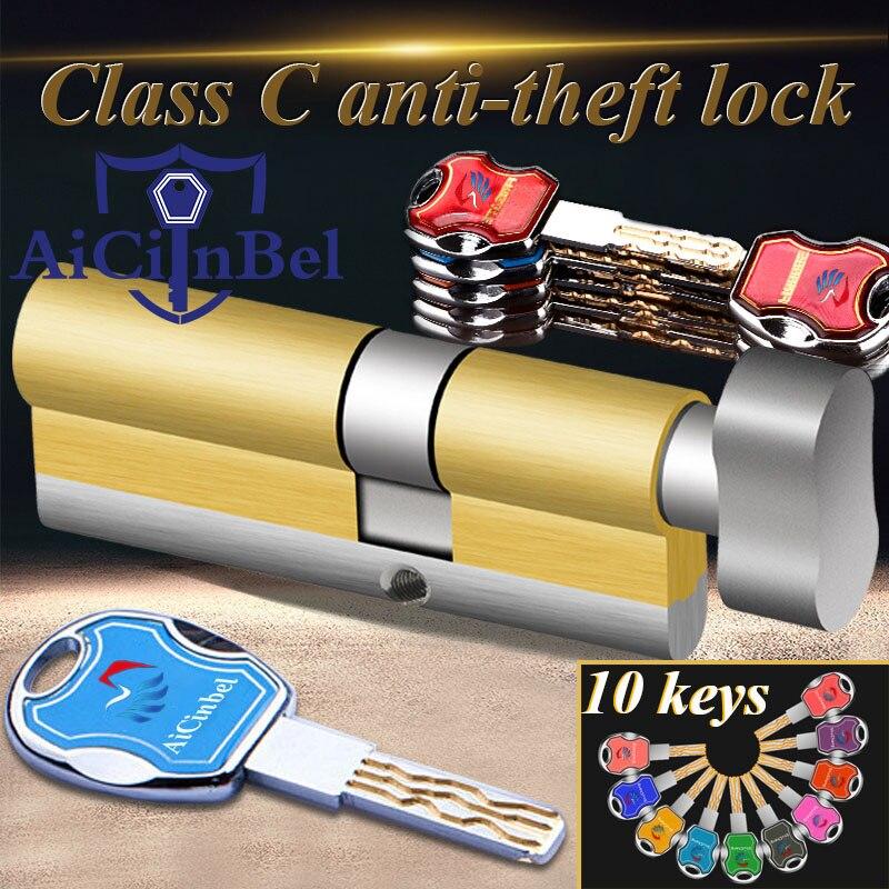 Door Cylinder 60 65 70 75 85 90MM Security Copper Lock Cylinder Interior Bedroom Living Handle Brass C Class Lock with 10 Keys|Lock Cylinders| - AliExpress