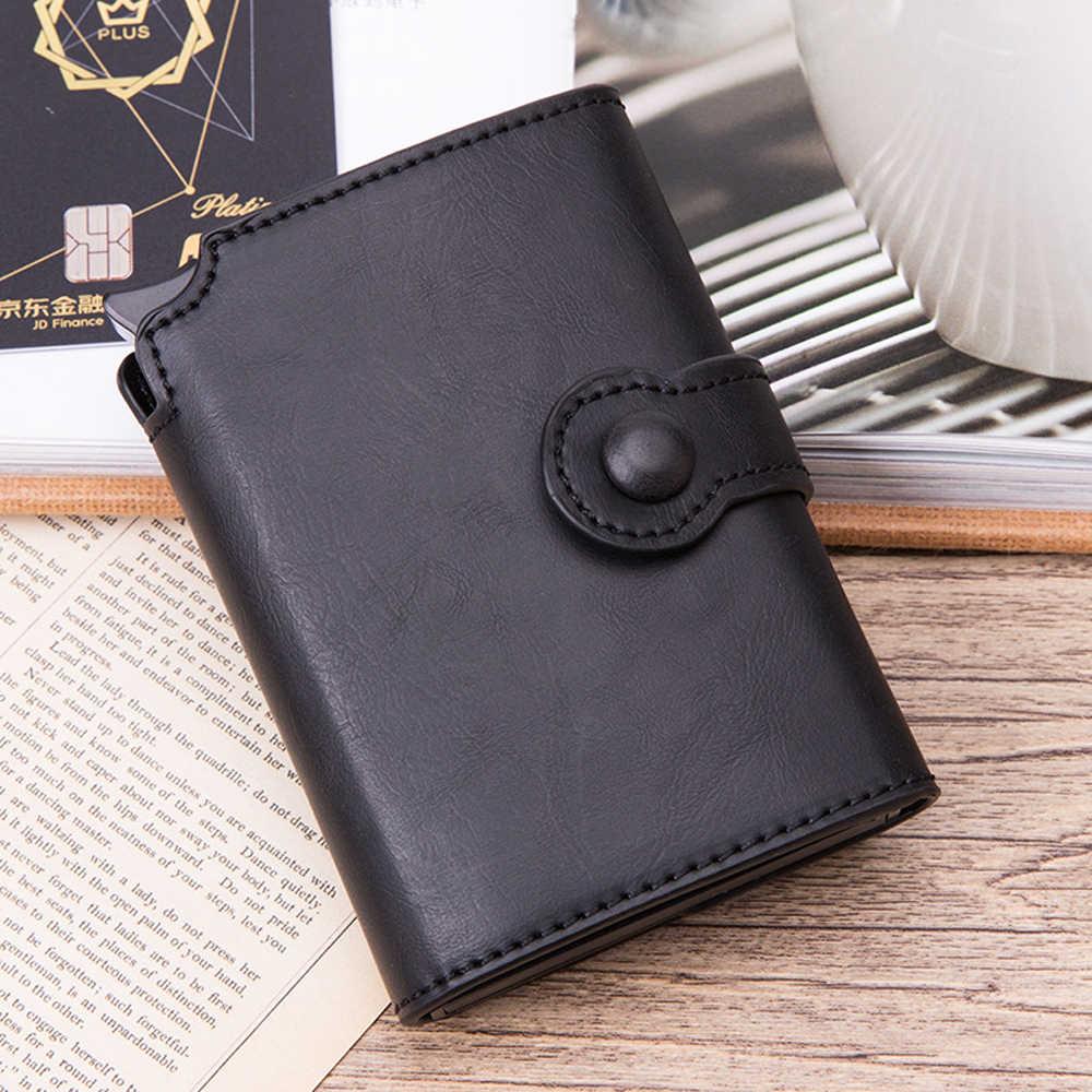 Pop-up RFID สีดำกระเป๋าสตางค์ผู้ชาย RFID ปุ่มบัตรเครดิตผู้ถือโลหะคุณภาพสูงอลูมิเนียมอัตโนมัติเหรียญ