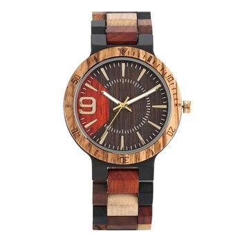 Montre Homme Houten Horloges Nummer 'nine' Beweging Quartz Horloge mannen Grote Gift Reloj Mujer Erkek Kol Saati