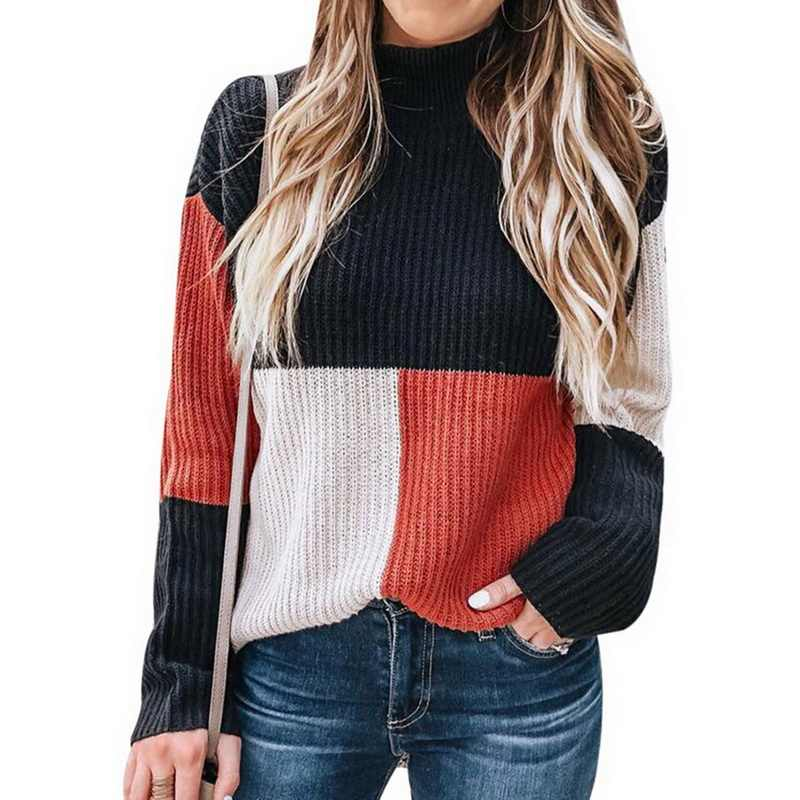 NIBESSER New Autumn Winter Fashion Women Knitted Plaid Patchwork Sweater Turtleneck Long Sleeve Sweater Female Casual Streetwear